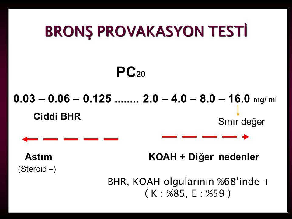 33 BRONŞ PROVAKASYON TESTİ PC 20 0.03 – 0.06 – 0.125........ 2.0 – 4.0 – 8.0 – 16.0 mg/ ml Sınır değer Astım KOAH + Diğer nedenler Ciddi BHR (Steroid