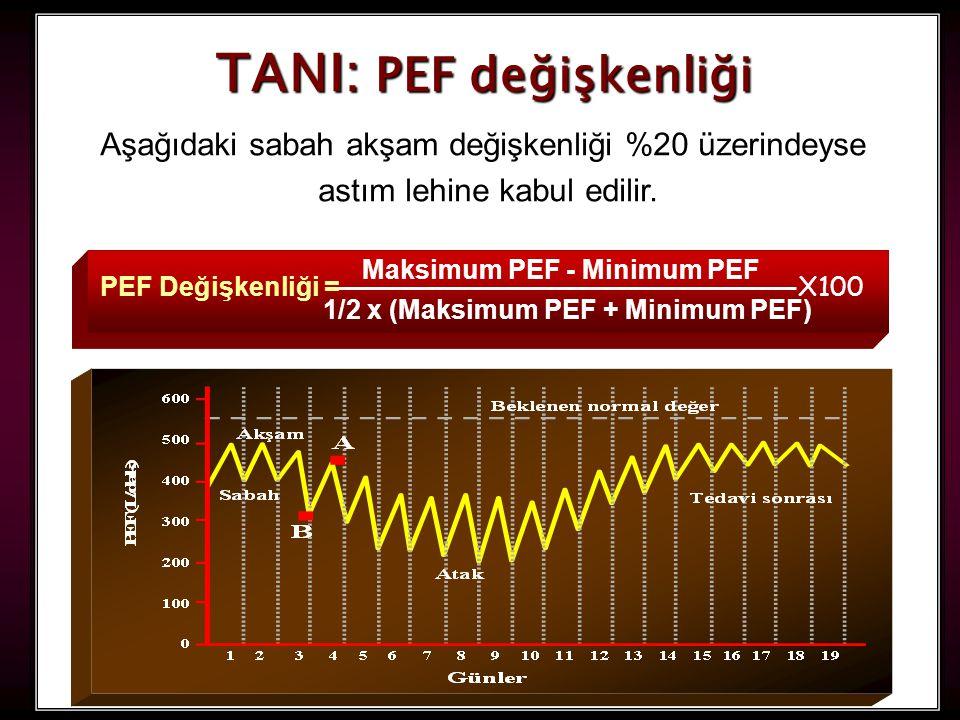 34 TANI: PEF değişkenliği Aşağıdaki sabah akşam değişkenliği %20 üzerindeyse astım lehine kabul edilir. X100 PEF Değişkenliği = Maksimum PEF - Minimum