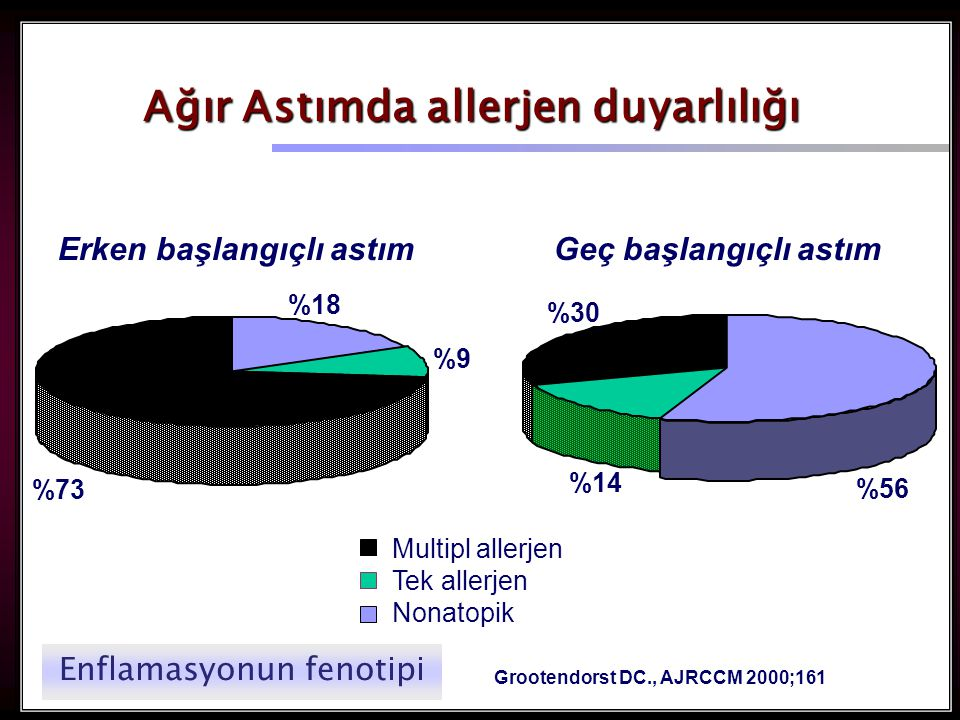 40 %18 %73 %9%9 %56 %14 %30 Ağır Astımda allerjen duyarlılığı Grootendorst DC., AJRCCM 2000;161 Multipl allerjen Tek allerjen Nonatopik Erken başlangıçlı astımGeç başlangıçlı astım Enflamasyonun fenotipi