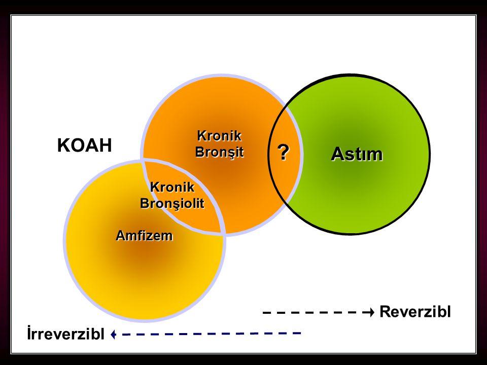 44 Kronik Bronşit Astım Amfizem Kronik Bronşiolit ? Reverzibl İrreverzibl KOAH