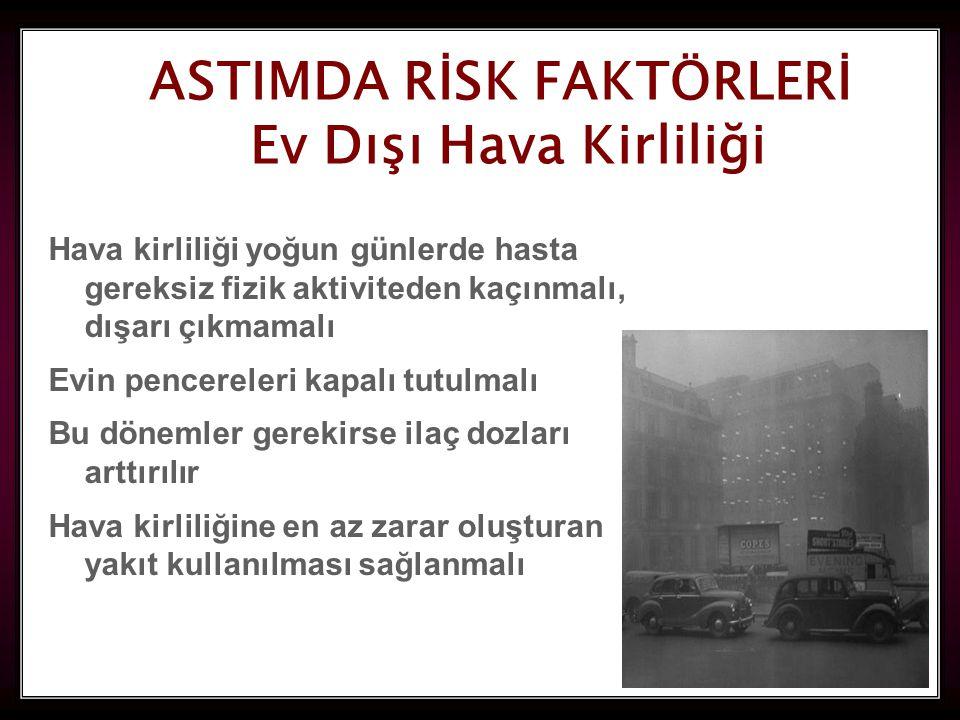 53 ASTIMDA RİSK FAKTÖRLERİ Ev Dışı Hava Kirliliği Ev Dışı Hava Kirliliği Hava kirliliği yoğun günlerde hasta gereksiz fizik aktiviteden kaçınmalı, dışarı çıkmamalı Evin pencereleri kapalı tutulmalı Bu dönemler gerekirse ilaç dozları arttırılır Hava kirliliğine en az zarar oluşturan yakıt kullanılması sağlanmalı