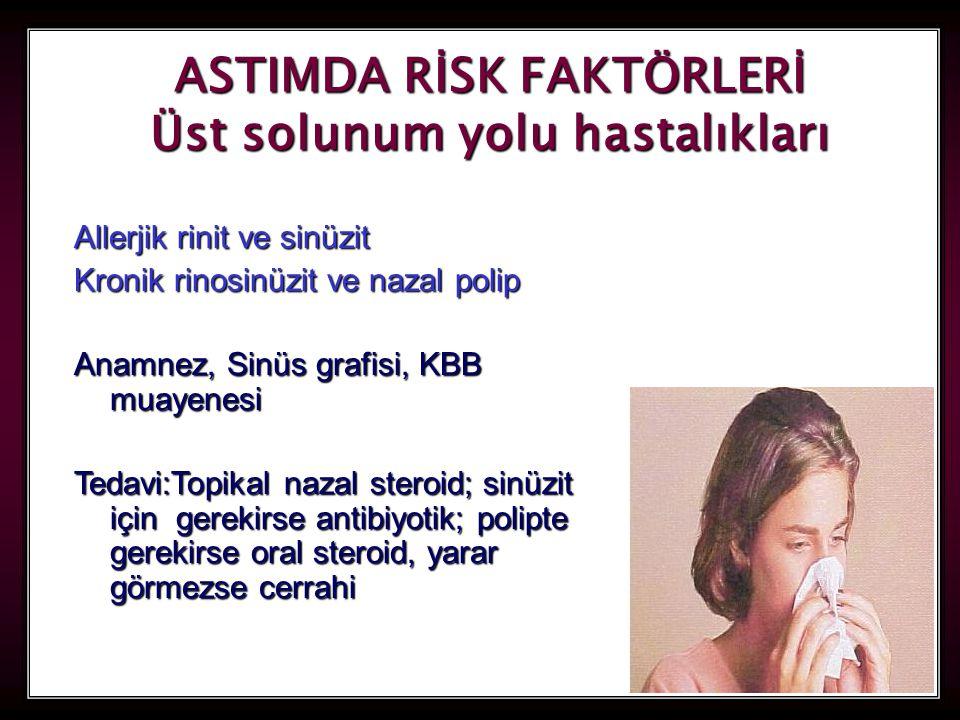 55 ASTIMDA RİSK FAKTÖRLERİ Üst solunum yolu hastalıkları Allerjik rinit ve sinüzit Kronik rinosinüzit ve nazal polip Anamnez, Sinüs grafisi, KBB muayenesi Tedavi:Topikal nazal steroid; sinüzit için gerekirse antibiyotik; polipte gerekirse oral steroid, yarar görmezse cerrahi