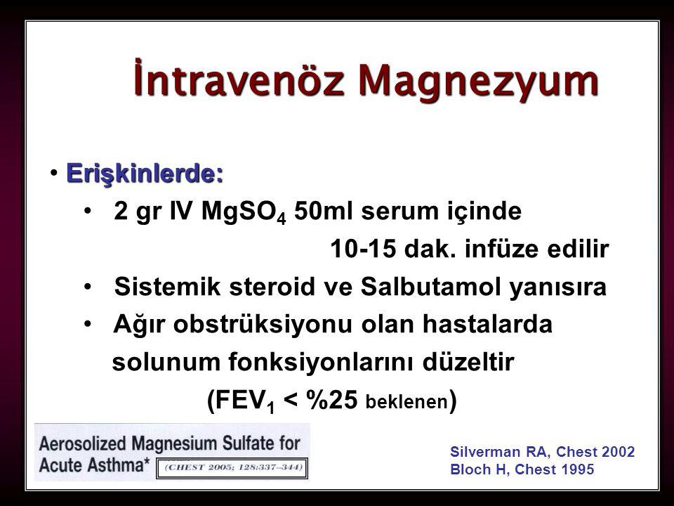 95 Silverman RA, Chest 2002 Bloch H, Chest 1995 İntravenöz Magnezyum Erişkinlerde: 2 gr IV MgSO 4 50ml serum içinde 10-15 dak. infüze edilir Sistemik
