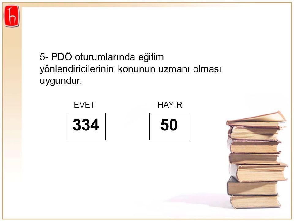 5- PDÖ oturumlarında eğitim yönlendiricilerinin konunun uzmanı olması uygundur. 334 EVETHAYIR 50