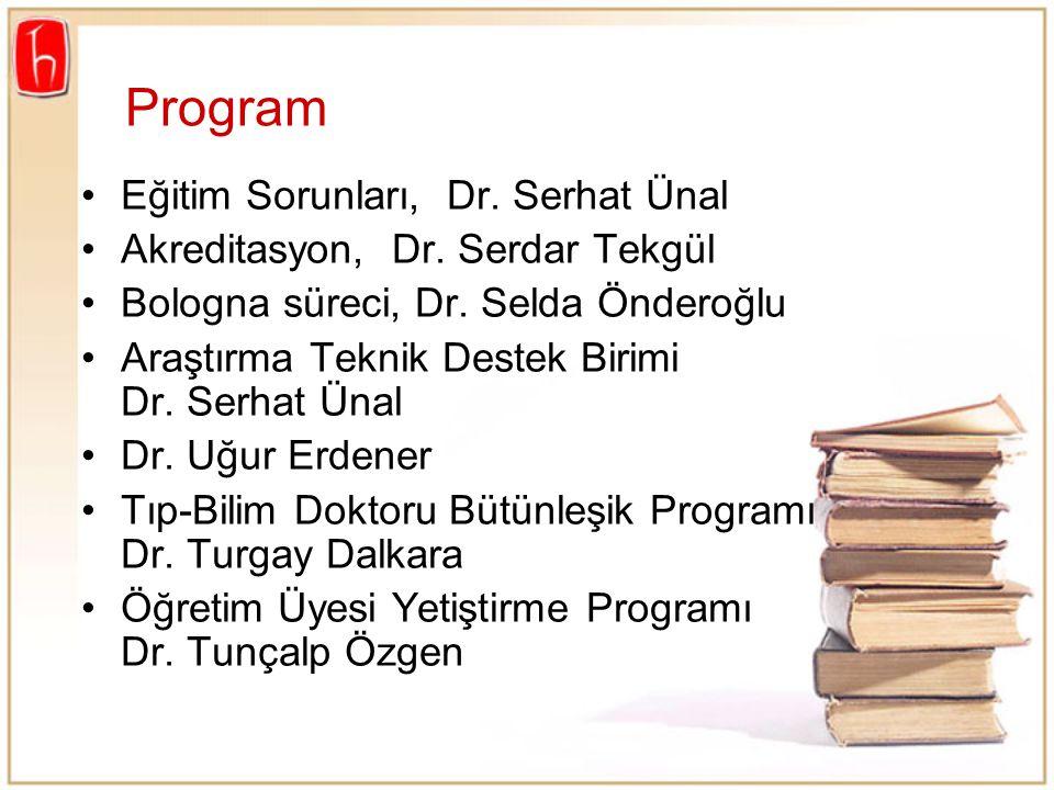 Program Eğitim Sorunları, Dr. Serhat Ünal Akreditasyon, Dr. Serdar Tekgül Bologna süreci, Dr. Selda Önderoğlu Araştırma Teknik Destek Birimi Dr. Serha