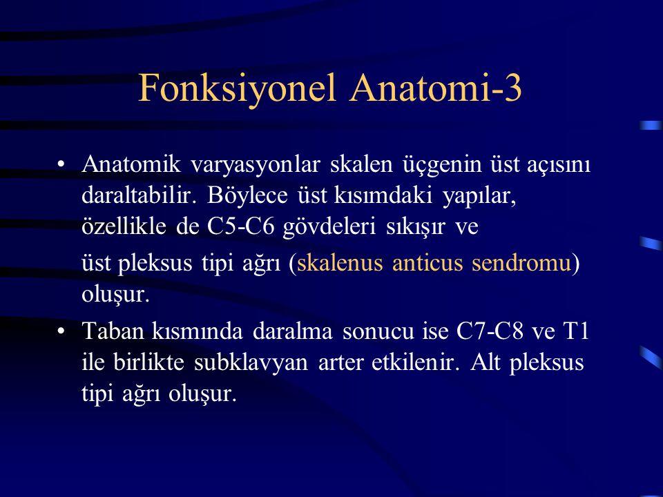 Fonksiyonel Anatomi-3 Anatomik varyasyonlar skalen üçgenin üst açısını daraltabilir. Böylece üst kısımdaki yapılar, özellikle de C5-C6 gövdeleri sıkış