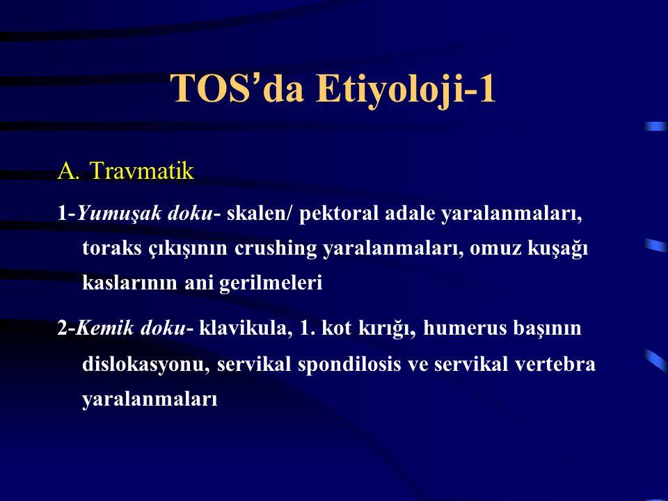 TOS ' da Etiyoloji-1 A. Travmatik 1-Yumuşak doku- skalen/ pektoral adale yaralanmaları, toraks çıkışının crushing yaralanmaları, omuz kuşağı kaslarını