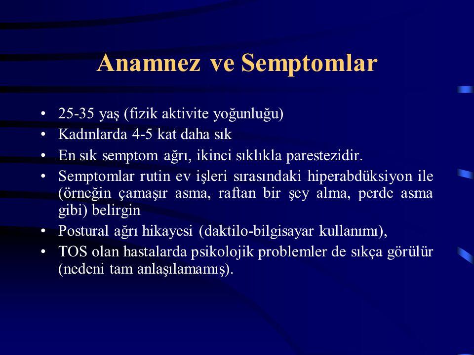 Anamnez ve Semptomlar 25-35 yaş (fizik aktivite yoğunluğu) Kadınlarda 4-5 kat daha sık En sık semptom ağrı, ikinci sıklıkla parestezidir. Semptomlar r