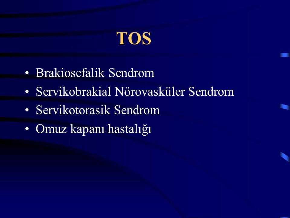TOS Brakiosefalik Sendrom Servikobrakial Nörovasküler Sendrom Servikotorasik Sendrom Omuz kapanı hastalığı