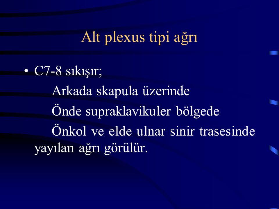 Alt plexus tipi ağrı C7-8 sıkışır; Arkada skapula üzerinde Önde supraklavikuler bölgede Önkol ve elde ulnar sinir trasesinde yayılan ağrı görülür.