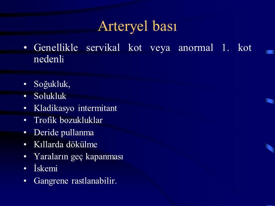 Arteryel bası Genellikle servikal kot veya anormal 1. kot nedenl i Soğukluk, Solukluk Kladikasyo intermitant Trofik bozukluklar Deride pullanma Kıllar