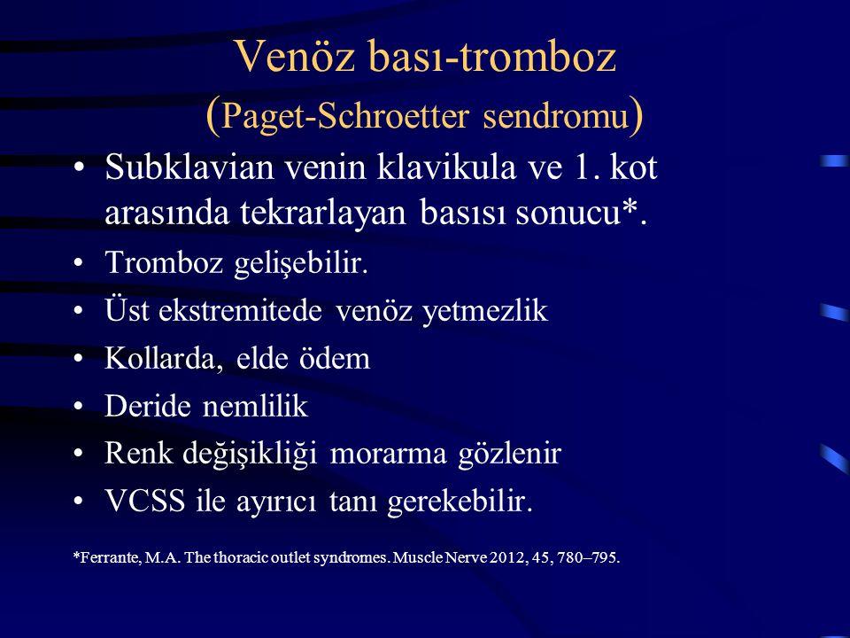 Venöz bası-tromboz ( Paget-Schroetter sendromu ) Subklavian venin klavikula ve 1. kot arasında tekrarlayan basısı sonucu*. Tromboz gelişebilir. Üst ek
