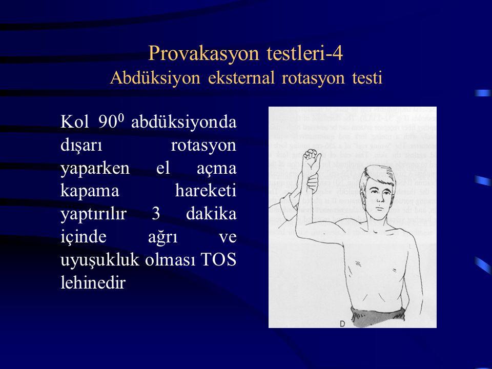Provakasyon testleri-4 Abdüksiyon eksternal rotasyon testi Kol 90 0 abdüksiyonda dışarı rotasyon yaparken el açma kapama hareketi yaptırılır 3 dakika