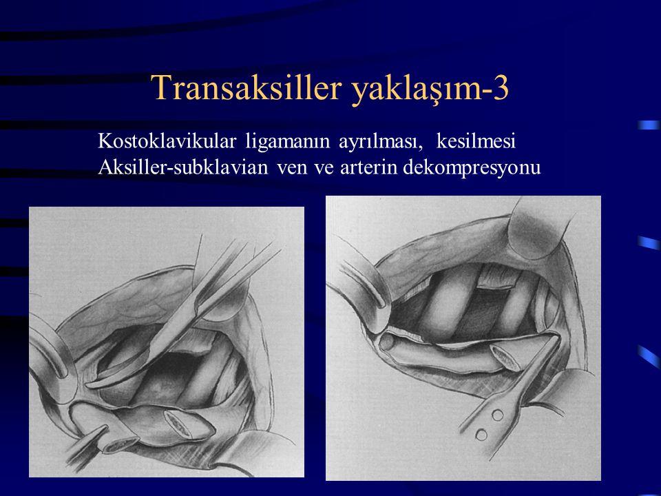 Transaksiller yaklaşım-3 Kostoklavikular ligamanın ayrılması, kesilmesi Aksiller-subklavian ven ve arterin dekompresyonu