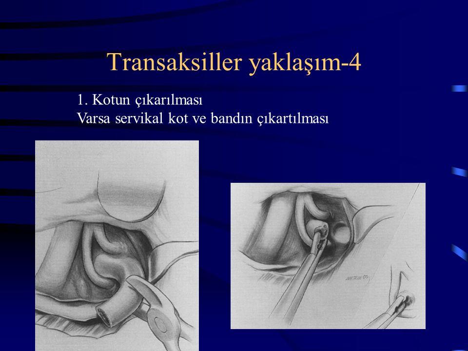 Transaksiller yaklaşım-4 1. Kotun çıkarılması Varsa servikal kot ve bandın çıkartılması