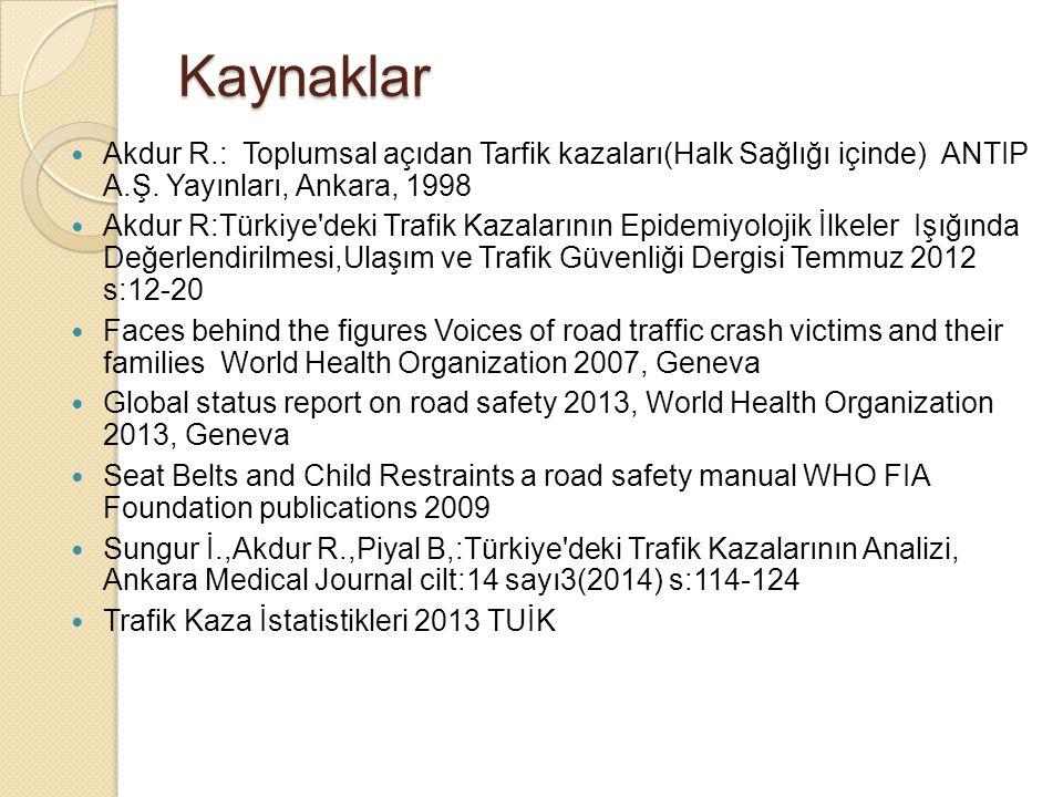 Kaynaklar Akdur R.: Toplumsal açıdan Tarfik kazaları(Halk Sağlığı içinde) ANTIP A.Ş. Yayınları, Ankara, 1998 Akdur R:Türkiye'deki Trafik Kazalarının E