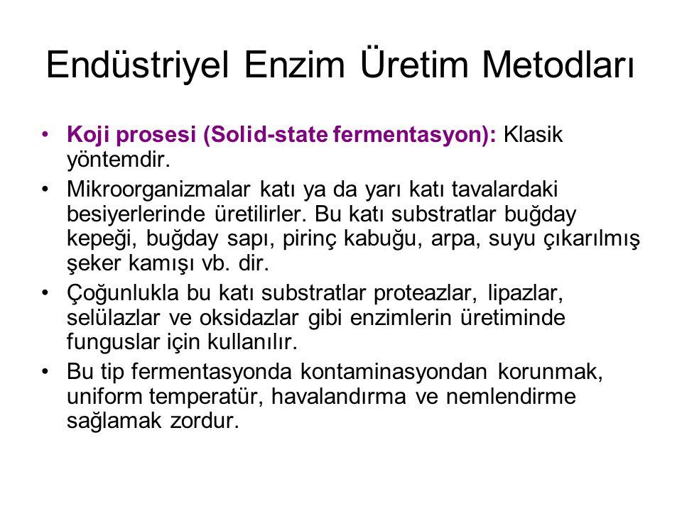Endüstriyel Enzim Üretim Metodları Koji prosesi (Solid-state fermentasyon): Klasik yöntemdir.