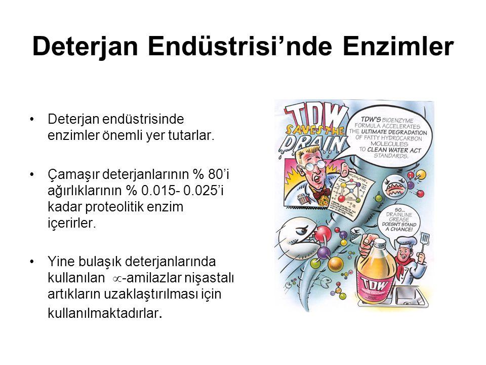 Deterjan Endüstrisi'nde Enzimler Deterjan endüstrisinde enzimler önemli yer tutarlar.
