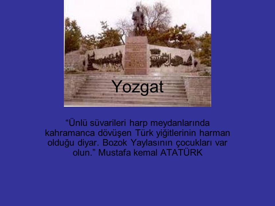 """Yozgat """"Ünlü süvarileri harp meydanlarında kahramanca dövüşen Türk yiğitlerinin harman olduğu diyar. Bozok Yaylasının çocukları var olun."""" Mustafa kem"""