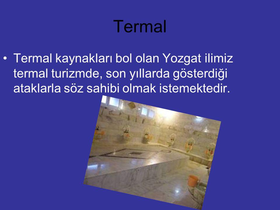 Termal Termal kaynakları bol olan Yozgat ilimiz termal turizmde, son yıllarda gösterdiği ataklarla söz sahibi olmak istemektedir.