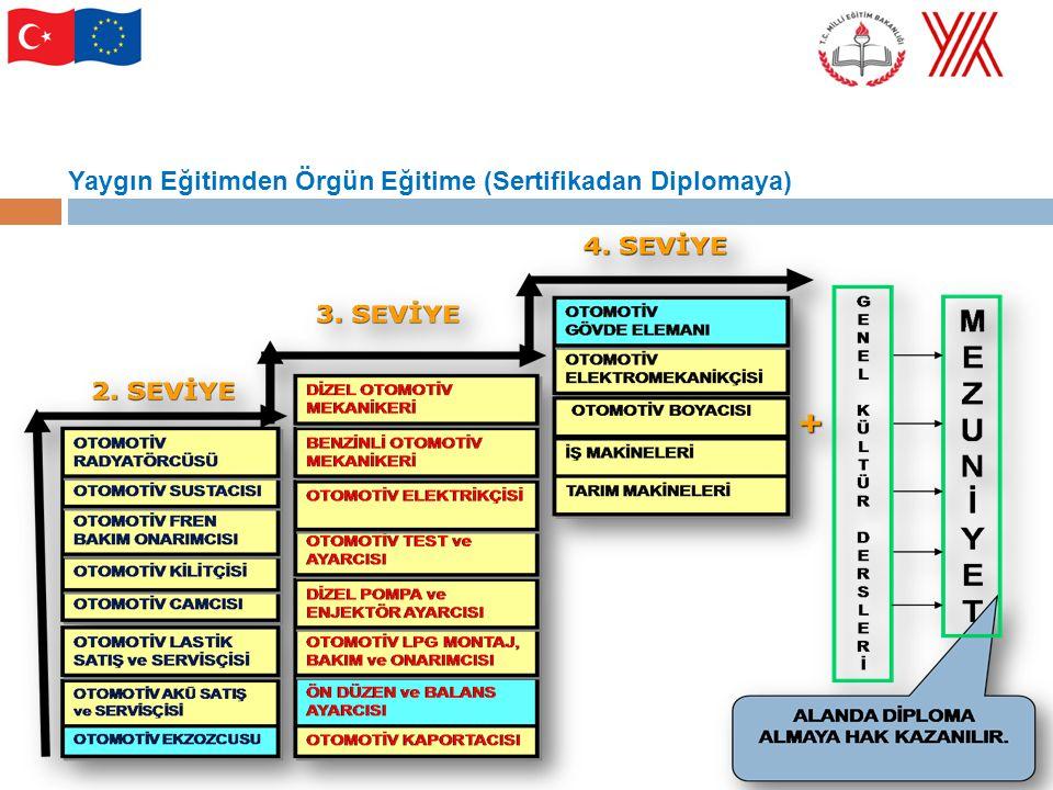 Milli Eğitim Bakanlığının Mesleki Eğitimi İyileştirme Çalışmalarında Endüstriyel Eğitim Projesi (1985-1994) Mesleki ve Teknik Eğitimin Modernizasyonu Projesi (2003-2006) Mesleki Eğitim ve Öğretim Sisteminin Güçlendirilmesi Projesi (2002-2007) Orta Öğretim Projesi (2006-2010) İnsan Kaynaklarının Mesleki Eğitim Yoluyla Geliştirilmesi Projesi (2008-2010)