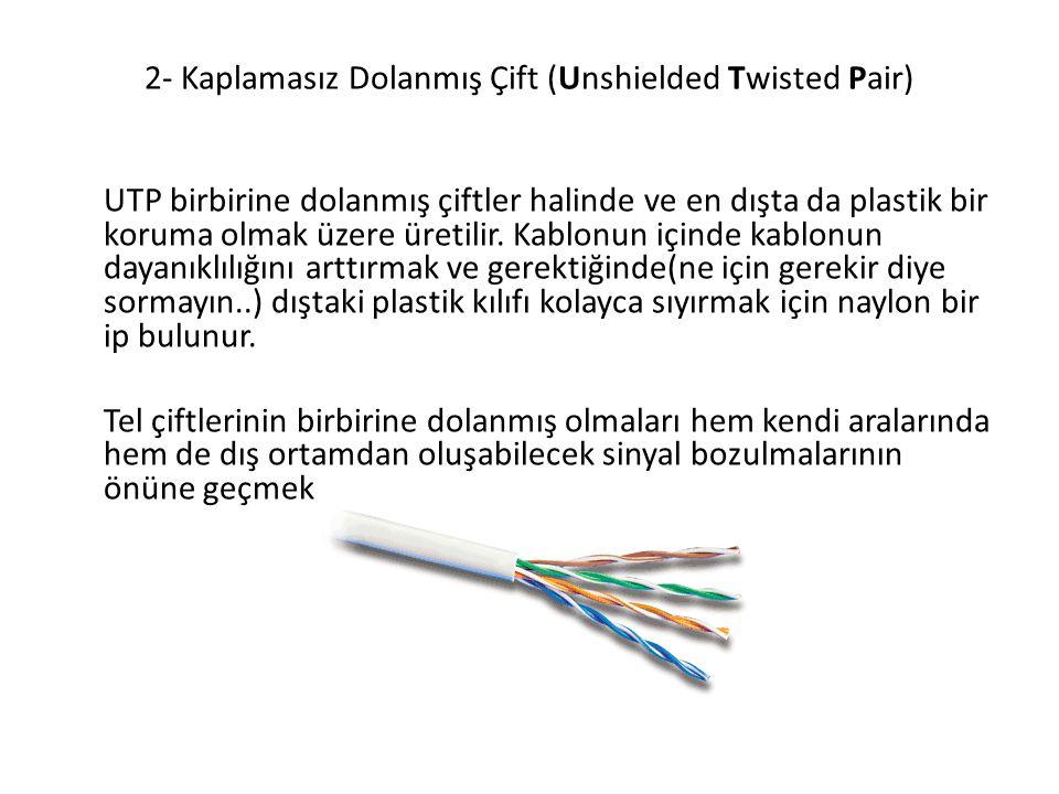 2- Kaplamasız Dolanmış Çift (Unshielded Twisted Pair) UTP birbirine dolanmış çiftler halinde ve en dışta da plastik bir koruma olmak üzere üretilir. K