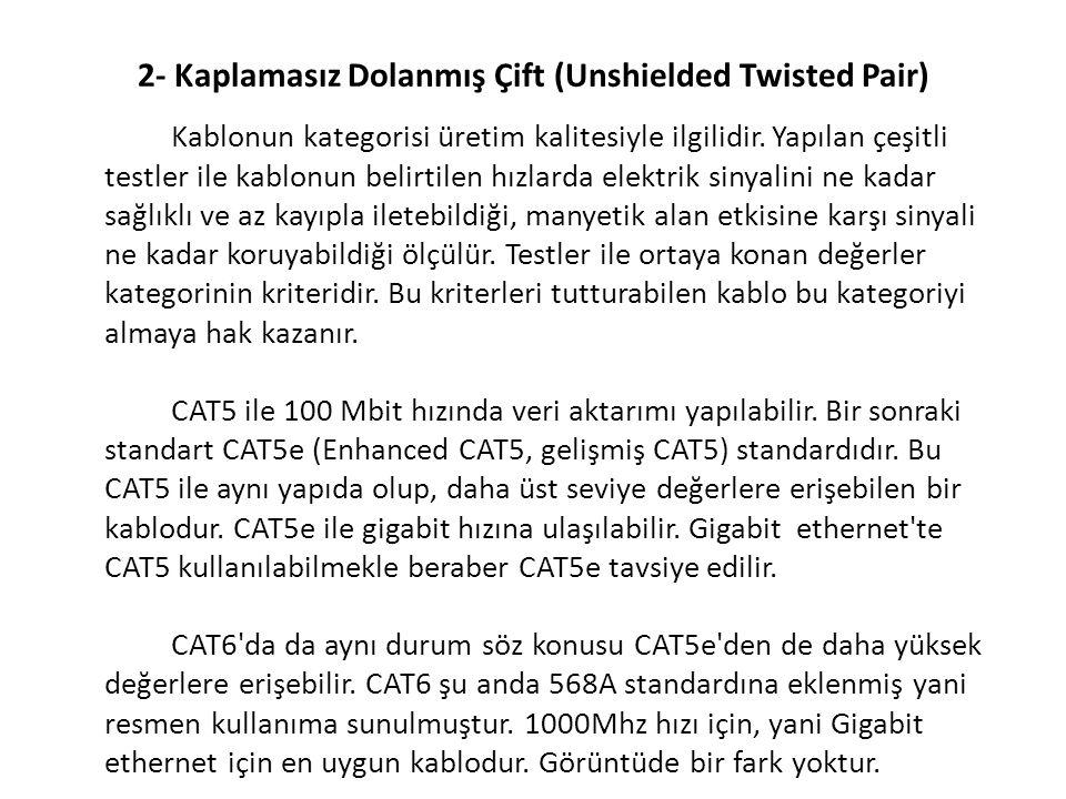 2- Kaplamasız Dolanmış Çift (Unshielded Twisted Pair) Kablonun kategorisi üretim kalitesiyle ilgilidir. Yapılan çeşitli testler ile kablonun belirtile