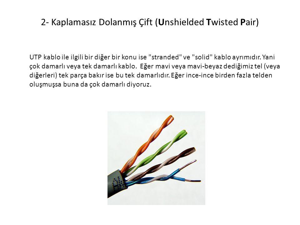 2- Kaplamasız Dolanmış Çift (Unshielded Twisted Pair) UTP kablo ile ilgili bir diğer bir konu ise
