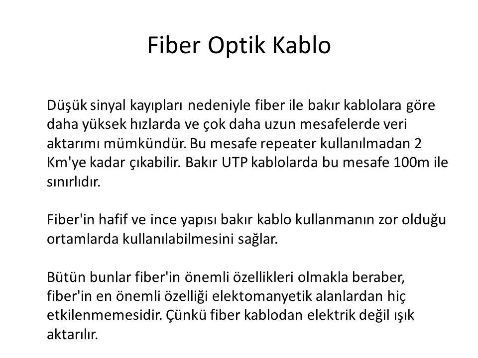 Fiber Optik Kablo Düşük sinyal kayıpları nedeniyle fiber ile bakır kablolara göre daha yüksek hızlarda ve çok daha uzun mesafelerde veri aktarımı mümk