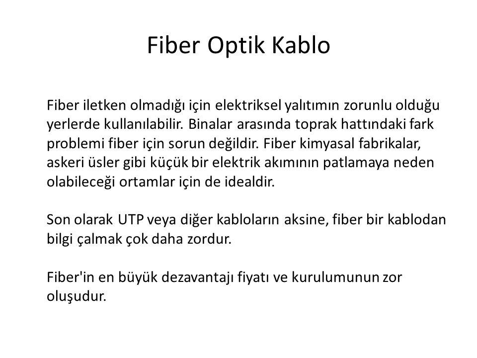 Fiber Optik Kablo Fiber iletken olmadığı için elektriksel yalıtımın zorunlu olduğu yerlerde kullanılabilir. Binalar arasında toprak hattındaki fark pr
