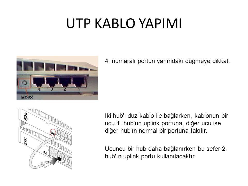 UTP KABLO YAPIMI 4. numaralı portun yanındaki düğmeye dikkat. İki hub'ı düz kablo ile bağlarken, kablonun bir ucu 1. hub'un uplink portuna, diğer ucu