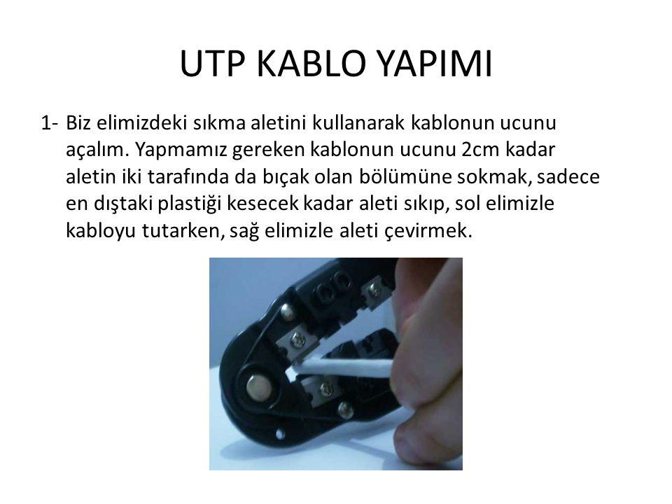 UTP KABLO YAPIMI 1-Biz elimizdeki sıkma aletini kullanarak kablonun ucunu açalım. Yapmamız gereken kablonun ucunu 2cm kadar aletin iki tarafında da bı
