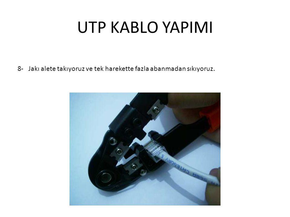 UTP KABLO YAPIMI 8-Jakı alete takıyoruz ve tek harekette fazla abanmadan sıkıyoruz.