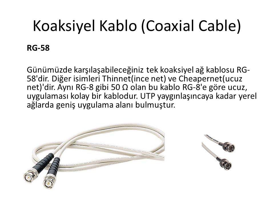 Koaksiyel Kablo (Coaxial Cable) RG-58 Günümüzde karşılaşabileceğiniz tek koaksiyel ağ kablosu RG- 58'dir. Diğer isimleri Thinnet(ince net) ve Cheapern