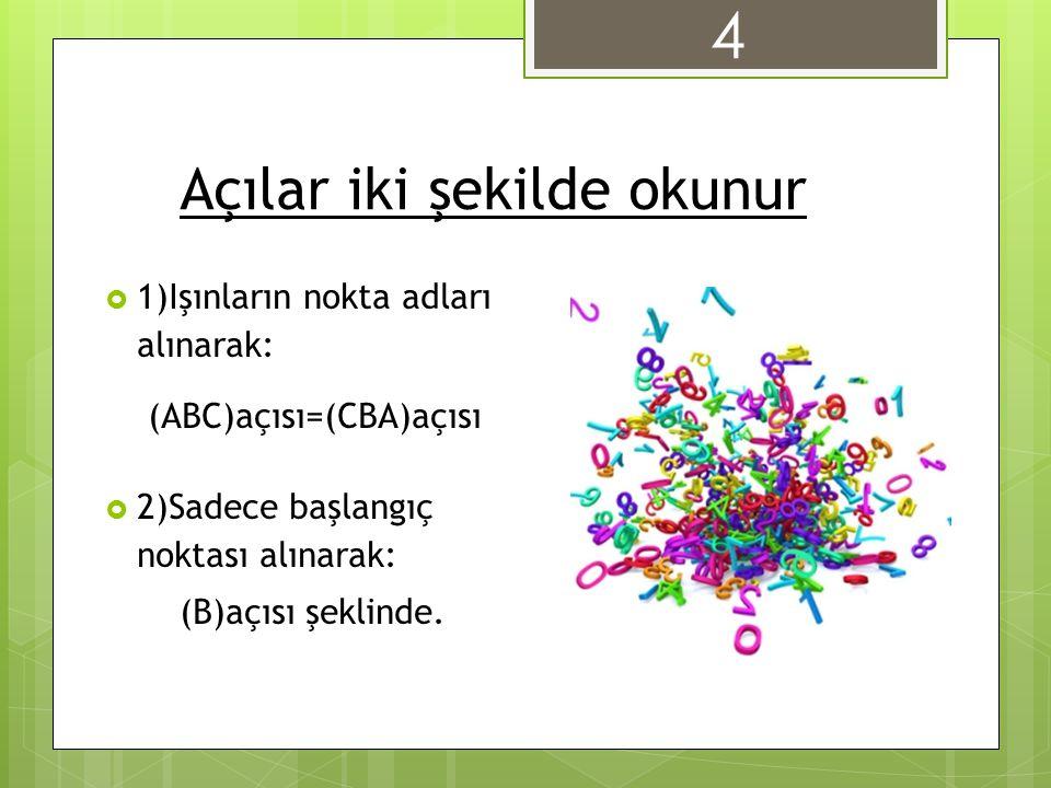 Açılar iki şekilde okunur  1)Işınların nokta adları alınarak: (ABC)açısı=(CBA)açısı  2)Sadece başlangıç noktası alınarak: (B)açısı şeklinde. 4