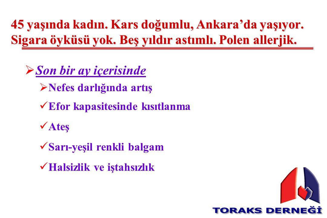 45 yaşında kadın. Kars doğumlu, Ankara'da yaşıyor. Sigara öyküsü yok. Beş yıldır astımlı. Polen allerjik.  Son bir ay içerisinde  Nefes darlığında a