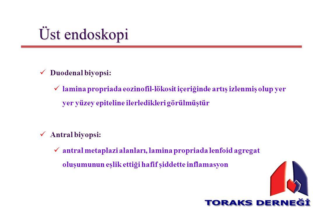 Üst endoskopi Duodenal biyopsi: lamina propriada eozinofil-lökosit içeriğinde artış izlenmiş olup yer yer yüzey epiteline ilerledikleri görülmüştür An