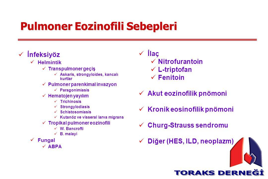 Pulmoner Eozinofili Sebepleri İnfeksiyöz Helmintik Transpulmoner geçiş Askaris, strongyloides, kancalı kurtlar Pulmoner parenkimal invazyon Paragonimi