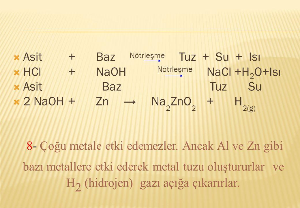  Asit+Baz Nötrleşme Tuz + Su + Isı  HCl+NaOH Nötrleşme NaCl+H 2 O+Isı  Asit Baz Tuz Su  2 NaOH+Zn→Na 2 ZnO 2 +H 2(g) 8- Çoğu metale etki edemezler