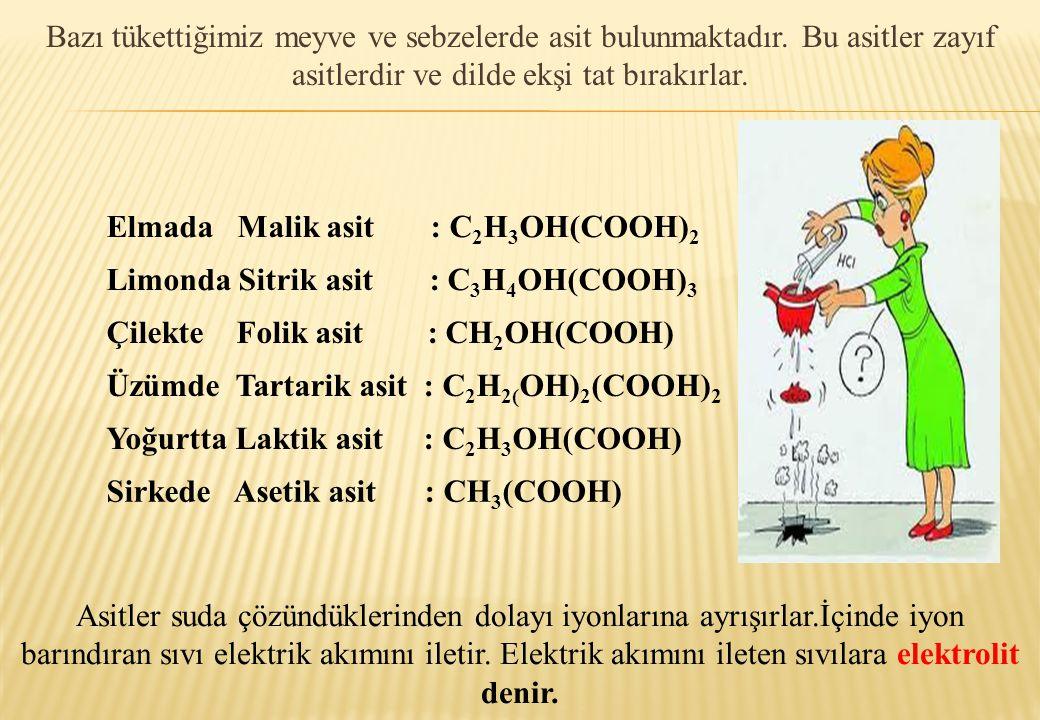 Elmada Malik asit : C 2 H 3 OH(COOH) 2 Limonda Sitrik asit : C 3 H 4 OH(COOH) 3 Çilekte Folik asit : CH 2 OH(COOH) Üzümde Tartarik asit : C 2 H 2( OH)