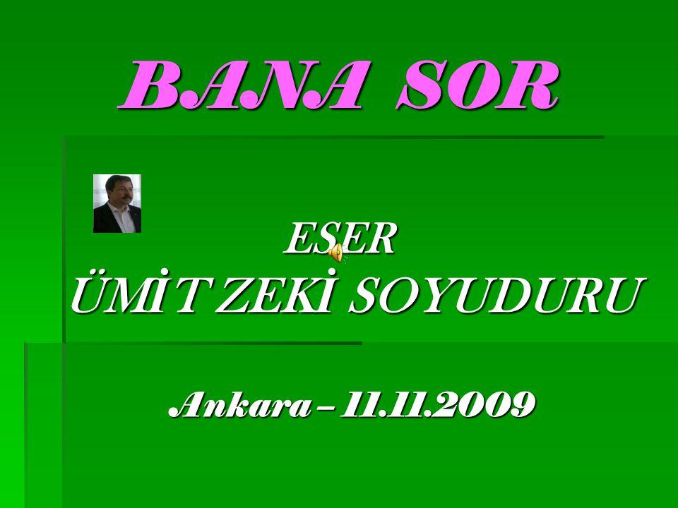 BANA SOR ESER ÜM İ T ZEK İ SOYUDURU Ankara – 11.11.2009