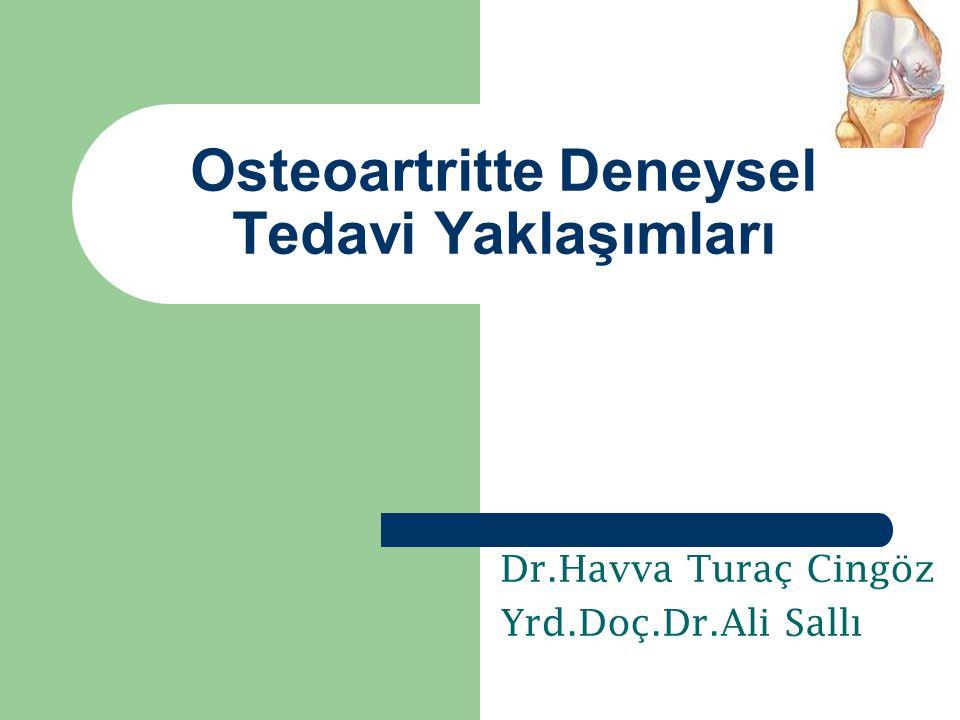 Dr.Havva Turaç Cingöz Yrd.Doç.Dr.Ali Sallı Osteoartritte Deneysel Tedavi Yaklaşımları