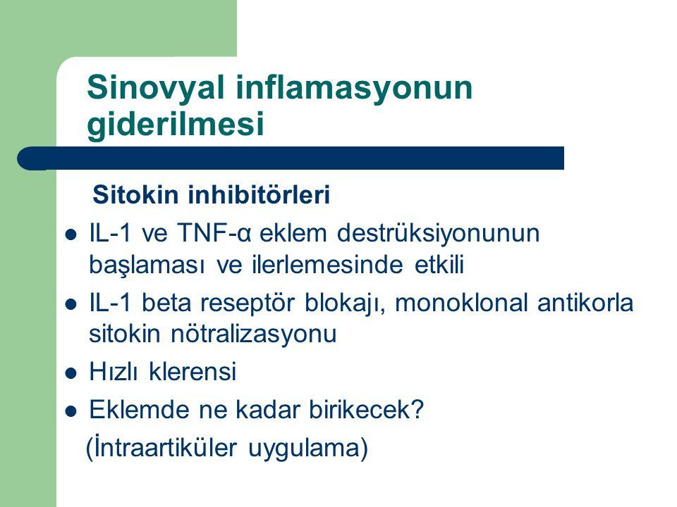 Sinovyal inflamasyonun giderilmesi Sitokin inhibitörleri IL-1 ve TNF-α eklem destrüksiyonunun başlaması ve ilerlemesinde etkili IL-1 beta reseptör blo