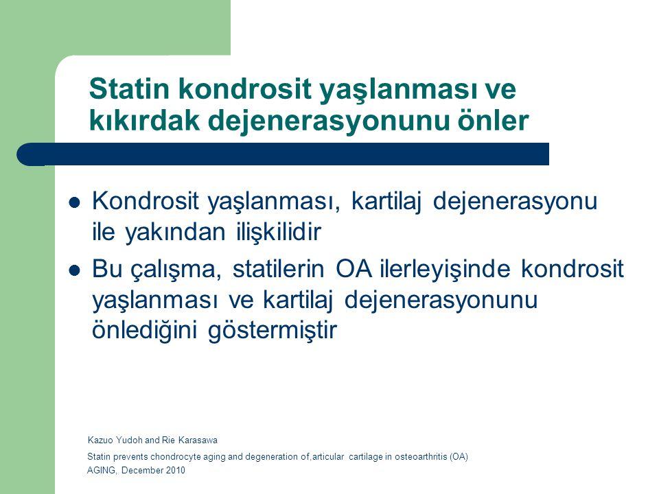 Statin kondrosit yaşlanması ve kıkırdak dejenerasyonunu önler Kondrosit yaşlanması, kartilaj dejenerasyonu ile yakından ilişkilidir Bu çalışma, statil