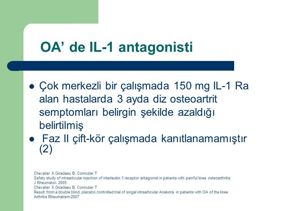 OA' de IL-1 antagonisti Çok merkezli bir çalışmada 150 mg IL-1 Ra alan hastalarda 3 ayda diz osteoartrit semptomları belirgin şekilde azaldığı belirti