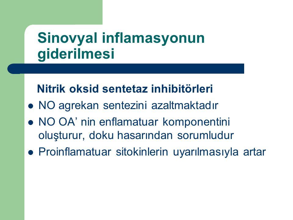 Sinovyal inflamasyonun giderilmesi Nitrik oksid sentetaz inhibitörleri NO agrekan sentezini azaltmaktadır NO OA' nin enflamatuar komponentini oluşturu