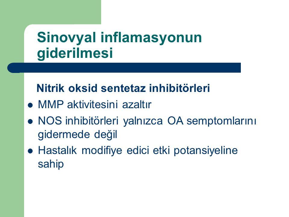 Sinovyal inflamasyonun giderilmesi Nitrik oksid sentetaz inhibitörleri MMP aktivitesini azaltır NOS inhibitörleri yalnızca OA semptomlarını gidermede