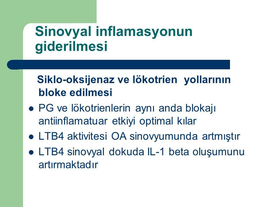 Sinovyal inflamasyonun giderilmesi Siklo-oksijenaz ve lökotrien yollarının bloke edilmesi PG ve lökotrienlerin aynı anda blokajı antiinflamatuar etkiy