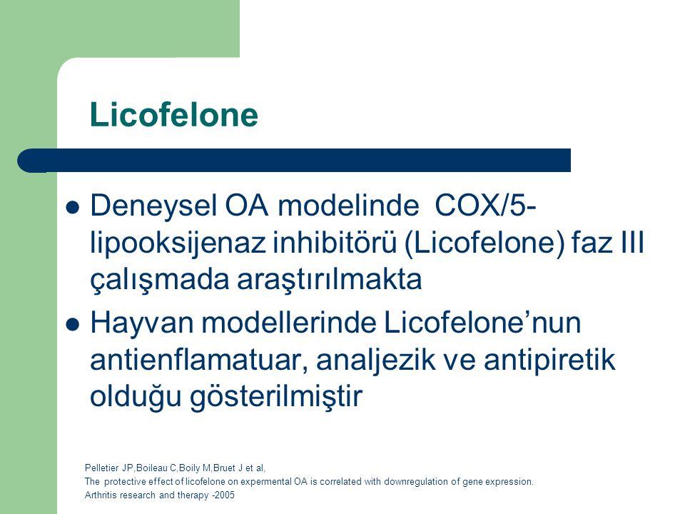 Licofelone Deneysel OA modelinde COX/5- lipooksijenaz inhibitörü (Licofelone) faz III çalışmada araştırılmakta Hayvan modellerinde Licofelone'nun anti