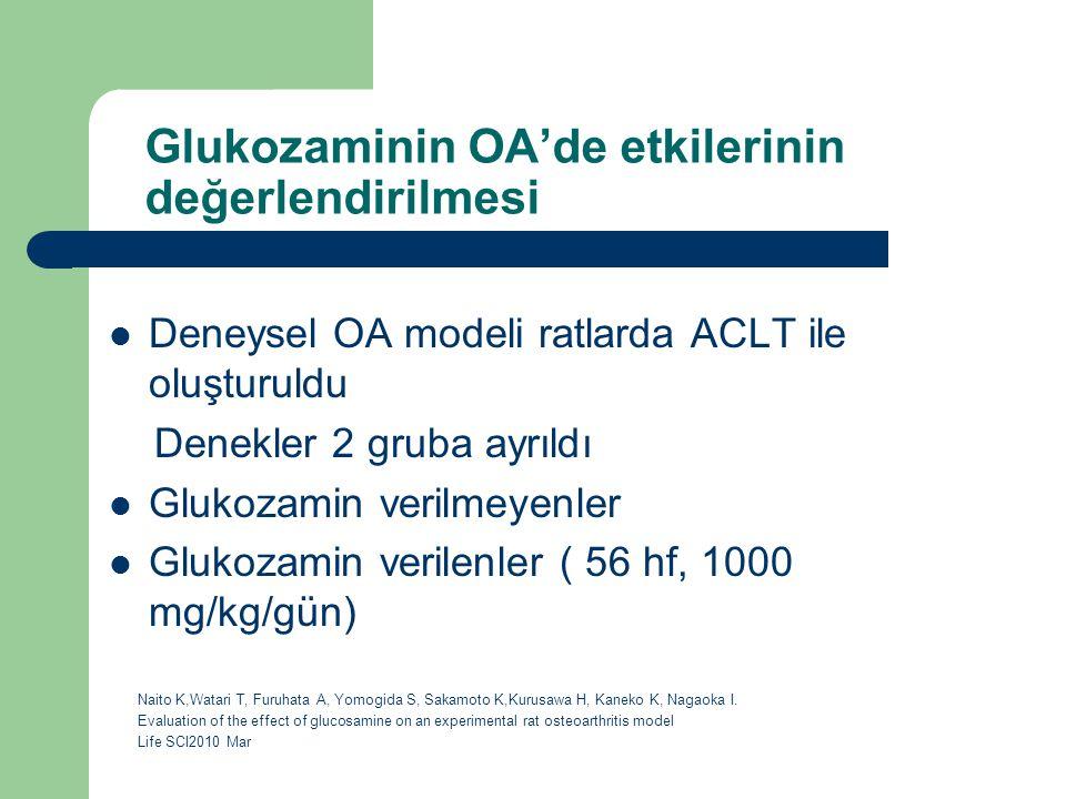 Glukozaminin OA'de etkilerinin değerlendirilmesi Deneysel OA modeli ratlarda ACLT ile oluşturuldu Denekler 2 gruba ayrıldı Glukozamin verilmeyenler Gl